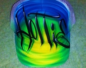 Airbrush Trucker Hat With Graffiti Name And Favorite Colors, Airbrush Trucker Hat, Graffiti Hat, Trucker Hat, Airbrush, Graffiti, Hat