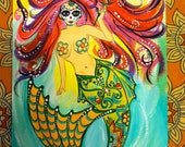 """SALE !!! day of the dead Mermaid , original painting on paper 9""""x12"""""""