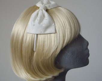 Ivory Headband- Ivory Broderie Anglais Bow Headband