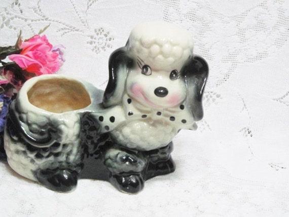 Vintage Poodle Pottery Planter Ceramic Black And White Polka