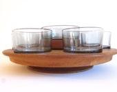 Mid century teak wood lazy susan, Brostrom Design, Denmark, wood appetizer, serving tray, Danish modern