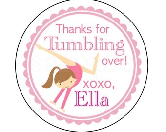 Tumbling or Gymnastics Party Personalized Stickers. Set of 40 Stickers. Gymnastics Birthday Party Favor Stickers. Tumbling Party Tags,