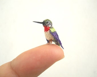 Ruby Throated Hummingbird - Micro Amigurumi Miniature Crochet Bird Stuffed Animal - Made To Order