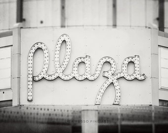 Movie Theater Print or Canvas Wrap, Movie Theater Sign, Black and White Marquee, Art for Girls Room, Media Room Decor, Retro Theater Sign.