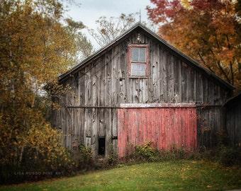 Farmhouse Decor, Barn Art, Barn Print or Canvas Wrap, Rustic Barn Print, Grey Barn, Red Door, Country Farm Art, Rustic Home Decor.