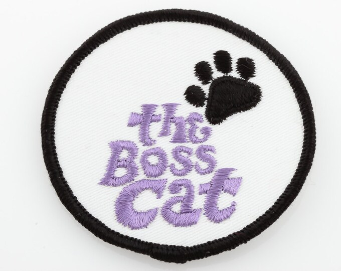 Vintage Patch | Boss Cat Black Purple Paw Print | Unused Sew On Applique for Jacket Jeans Hat Shorts Backpack NOS