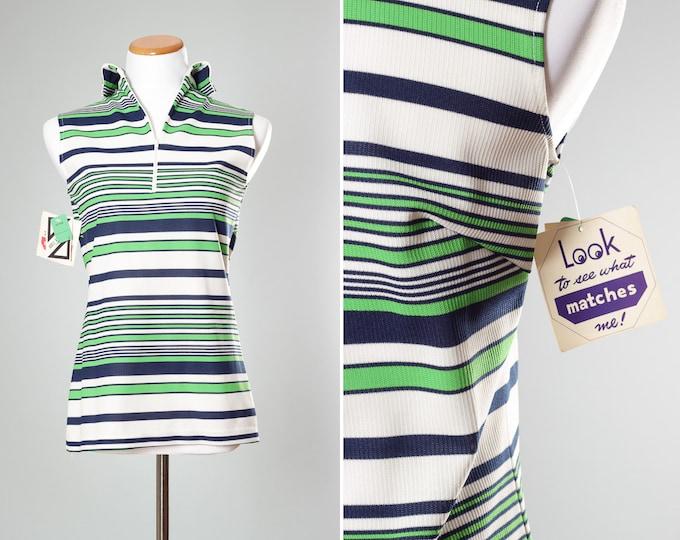 Size 9/10 Blue Green Top 1970s Vintage Striped Women's Sleeveless Blouse 4AA