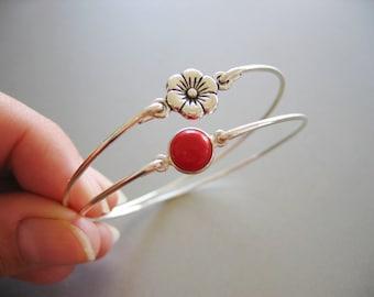 RED POPPY set of 2 bangle bracelets