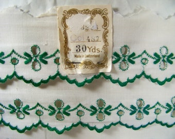 Vintage Embroidered Trim Cotton Edging Scalloped New Old Stock 30 Yard Package