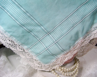Vintage Ladies Handkerchief Plaid Teal with Hand Crocheted Edging Wedding