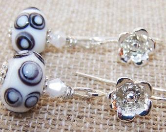 White lampworked earrings