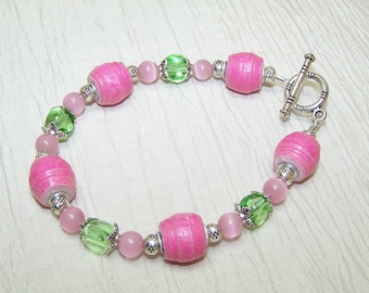 Pink Green and Silver beaded bracelet