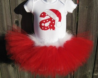 Christmas Tutu | Personalized Santa Set with Matching Headband | Red Santa Tutu | Christmas Photo Prop