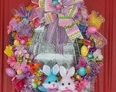 Wreath Easter Eggs Bunnies Pink Purple Green Yellow