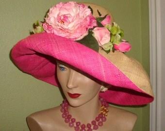 Pink ROSES Raffia HAT, Custom Designer, Hot Pink Natural Raffia. Floral, Polo, Derby, Garden Party, Church, Wedding