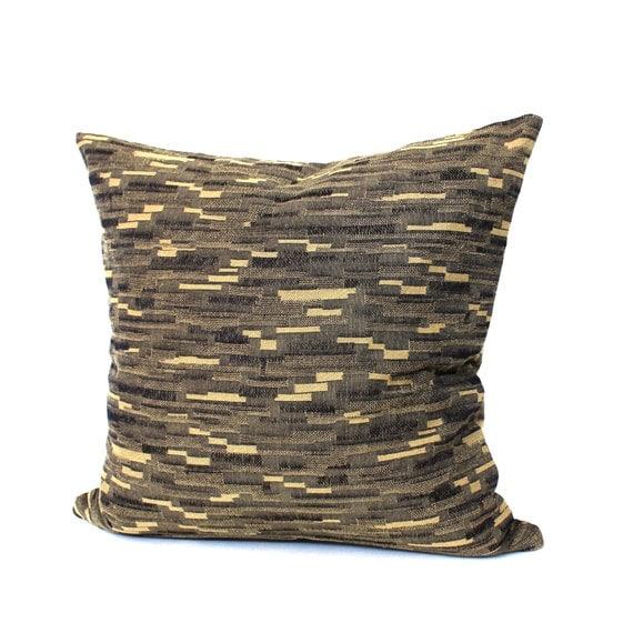 Black Pillow Cover Black Beige Stripe Upholstery Fabric