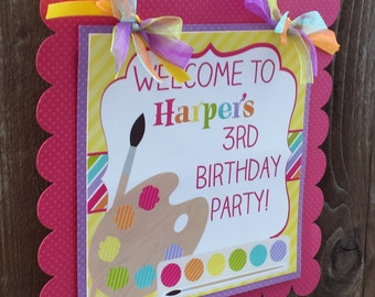 Personalized Door Sign: Girly Art -Party Sign -Hanging Sign -Baby Shower -Birthday-1st Birthday -Colorful -Art Supplies -Painting Party