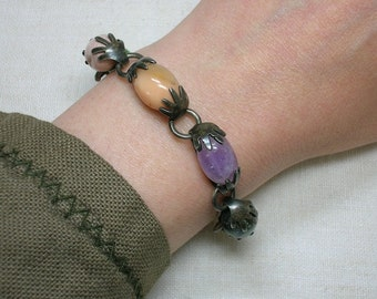 Sterling Silver Bracelet, Taxco Mexico. Agate Pebbles & Hands Motif