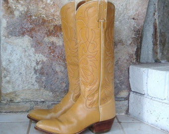 70s TALL COWBOY BOOTS vintage distressed  tan leather wooden stacked heel by Nocona 6 7