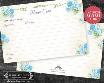 Blue Floral Bridal Kitchen Tea recipe cards. Download and Print Today.