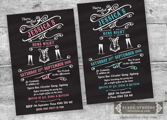 Chalkboard Bachelorette Hens Party Invitations printable – Hens Party Invitations Australia