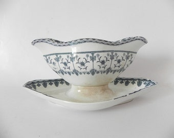 French Vintage gravy bowl boat with underplate blue and white