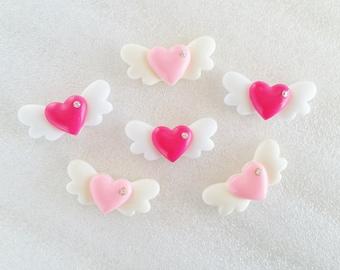 6pcs - Pretty Pink Angel Wing Hearts Decoden Cabochon (28x15mm) HRT10023