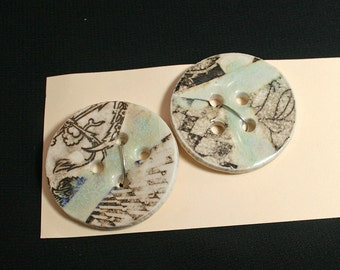 Handmade porcelain buttons, Black graphic, Pale blue glaze, Sewing, Quilting, Knitting, Weaving, Craft, Unique, Felting, Ceramic (eb287)
