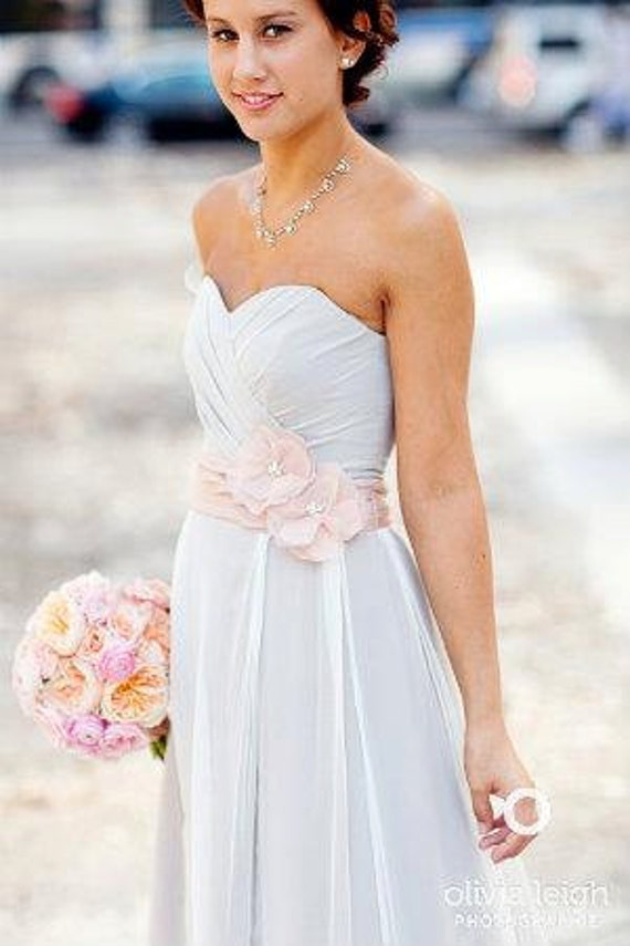 Gray Wedding Dress with Fabric Flowers, Custom Made in your size - Cosima Style