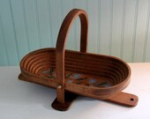 Beautiful Handcarved Cornflower Wood Collapsible Basket