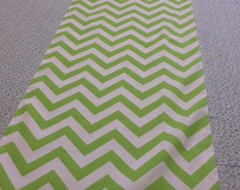 Lime green and White Chevron Table Runner 90   x 16