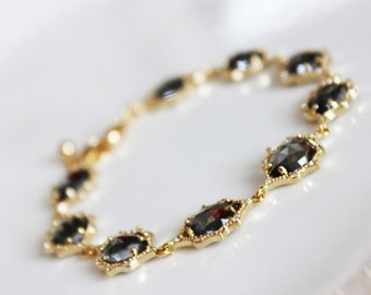 Charcoal Glass Pendant Cubic Zirconia Wedding Bracelet, Polished Gold Charcoal Crystal Bridal Bracelet, Bridesmaids Bracelet