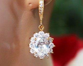 Crystal Drop Wedding Earrings, Gold CZ Crystal Drop Bridal Earrings, Bridesmaid Earrings, Bridal Accessories, Mother of the Bride and Groom