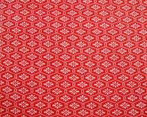 Vintage Japanese Kimono Fabric Bolt wool Persimon Orange and white Flowers 37/92cm 1 yard