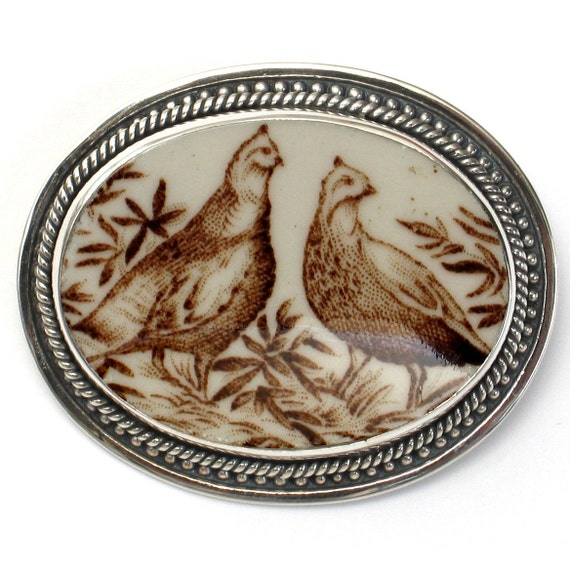 Broken China Jewelry Johnson Bros Windsor American Wild Turkey Birds Sterling Pin Brooch