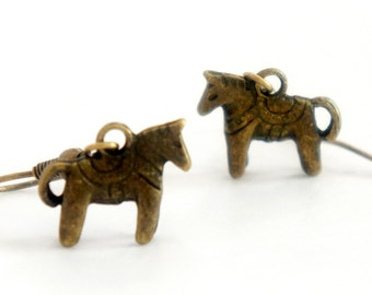 Tiny Horse - Vintage Style Antiqued Brass Dangle Earrings - C0044