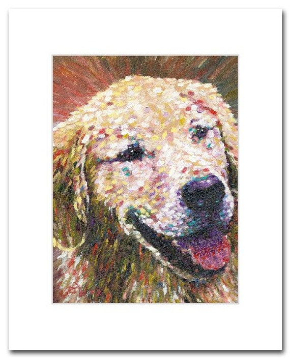 Golden Retriever Seriously Cute Puppy Art Dog Art Print Pet Portrait from Original Oil Painting 163