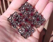 Maltese Cross Gothic Crimson Vintage Rhinestone Brooch