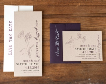 "Lace Wedding Save the Dates, Rustic Lace Save the Date, Plum Wedding, Wildflowers - ""Rustic Lace"" Save the Dates"