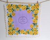 Will You Be My Bridesmaid- purple and yellow handkerchief Hand-Stamped Vintage Handkerchief, Maid of Honor, Bridesmaid proposal