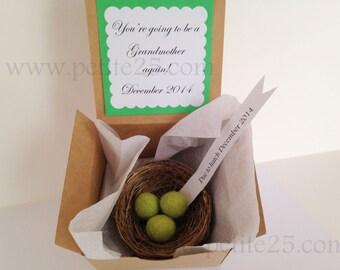 Bird's Nest Pregnancy announcement, baby announcement, new baby, new parents, felt eggs, ornament, needle felted,rustic