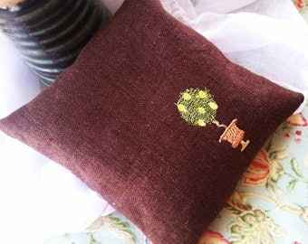 Lemon Tree topiary embroidered wrist rest for computer work Mini Pillow or owie pad
