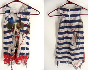 Girl's custom made Distressed Pretty Little Zombie Hunter PUPPY DOG SAILOR Dress Halloween Costume size 4 5