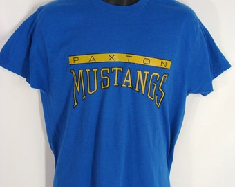 TEMPORARILY REDUCED was 28.88 rare vintage 80s Paxton Mustangs Illinois High School Blue & Yellow T-Shirt XL Screen Stars 50/50