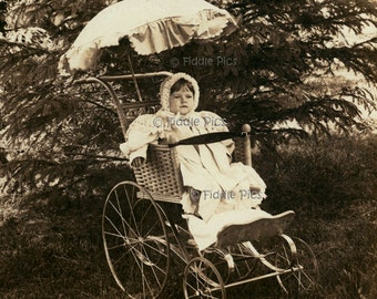 Vintage Baby Carriage w Parasol | Pram Buggy | Original Vintage Photo | Early 1890s