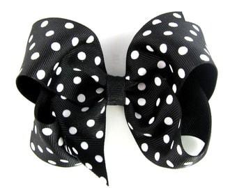 "Black Polka Dot 4"" Hair Bow - Baby Toddler Girl - 4 Inch Boutique Bow on Alligator Clip Barrette"