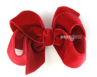 "Red velvet hair bow, 3"" hair bow, Christmas hair bow, girls hair bows, baby hair bow, velvet hair clip, boutique bows"