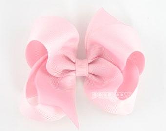 Girls Hair Bows, light pink hair bow, 4 inch hair bows, big hair bows, boutique bows, large hair bows, girl hair bows, toddler hairbow
