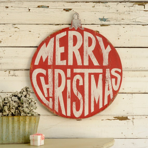 Merry christmas ornament retro sign wall art by havenamerica
