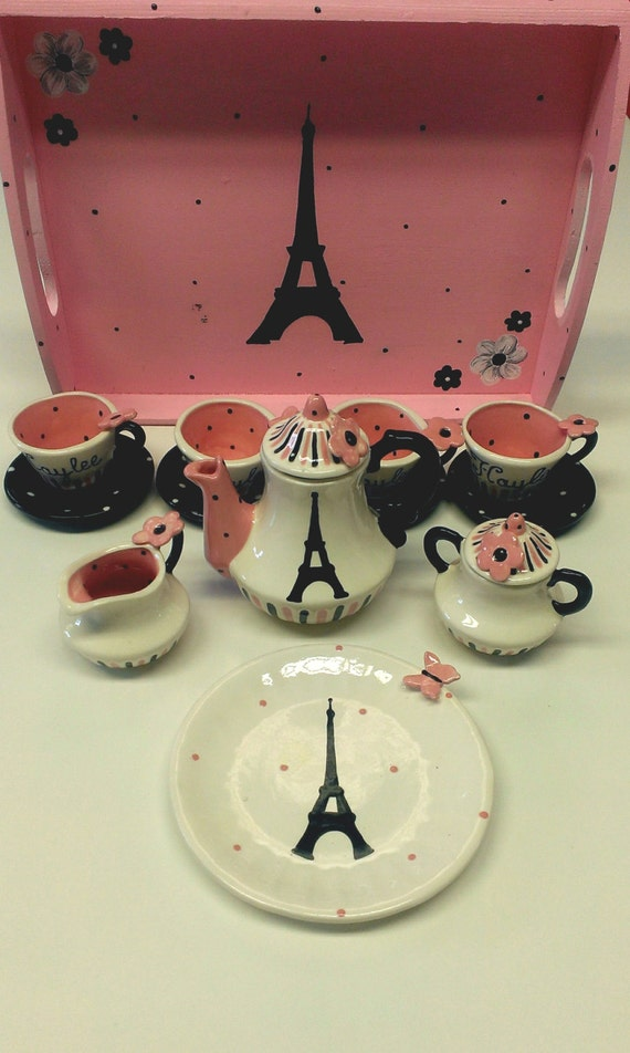 Childs Paris Tea Set with wooden tray
